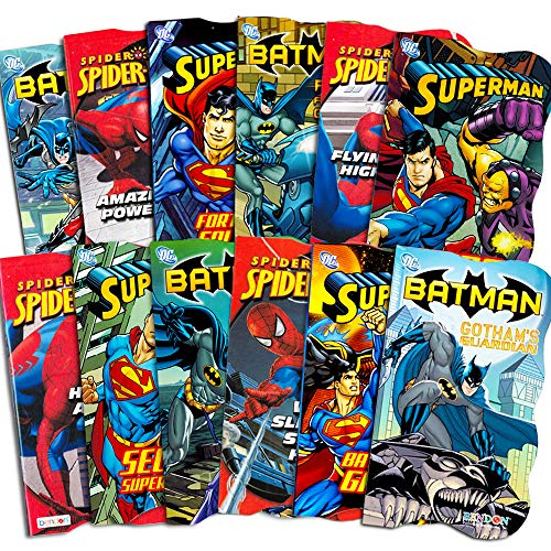 Superhero Board Books Ultimate Set Toddlers Kids -- 12 Shaped Board Books Featuring Batman, Superman, Spiderman and More