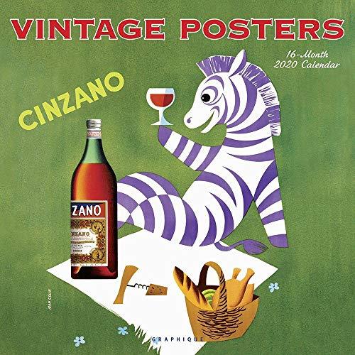 "Graphique Vintage Posters Wall Calendar, 16-Month 2020 Wall Calendar with Vintage Drink Posters, 3 Languages & Major Holidays, 2020 Calendar, 12"" x 12"""