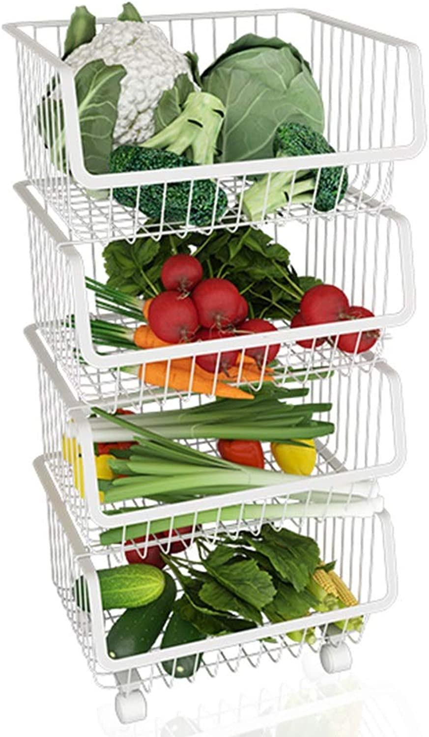 Kitchen Storage Rack, Multi-Function Metal Storage Rack for Kitchen Living Room Can Be Placed Vegetables and Fruits Floor-Standing Pulleys Can Be Freely Pushed to The Kitchen Living Room