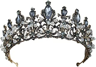 Black Crystal Baroque Queen Crown Vintage Princess Tiara Wedding Prom Hair Accessories for Women and Girls