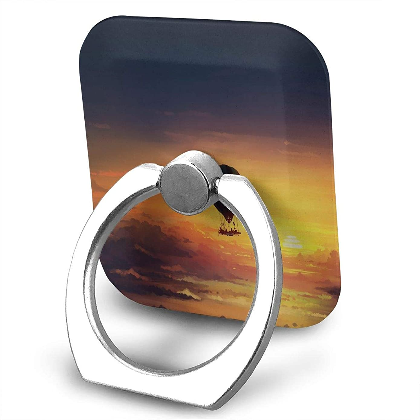 Square Finger Ring Stand 360°Rotation Phone Holder Grip Balloon Sunset Sky Kickstand for Smartphones and Ipad