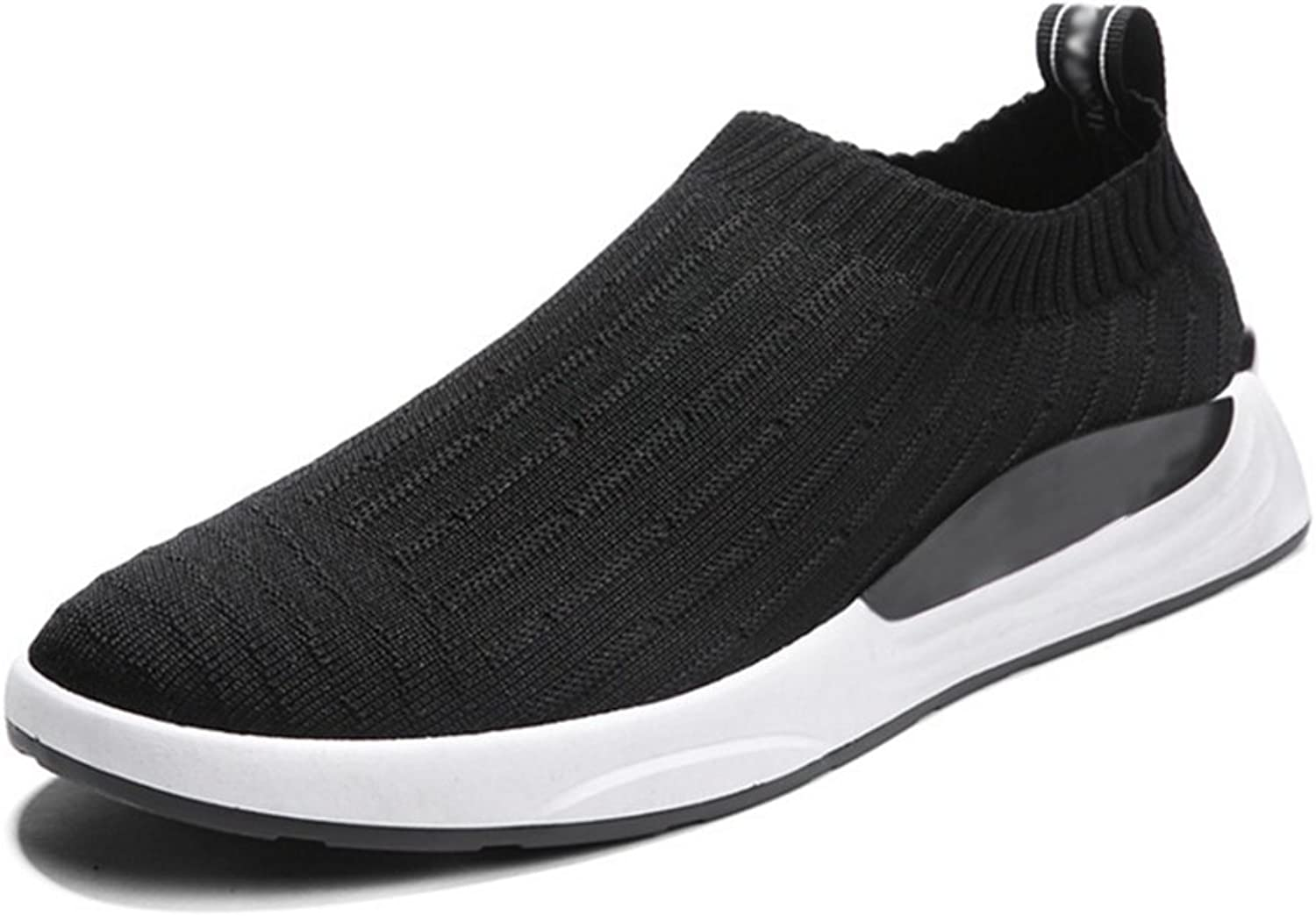 RENMEN Spring summer casual shoes men's shoes breathable flying woven shoes student tide shoes sports shoes 39-43, black