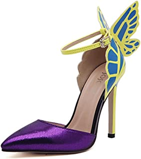 ALUA- Spring And Summer - In Europe And America Sexy High-heeled Pointed Shoes Butterfly Wings ( Color : Purple , Size : 38 )