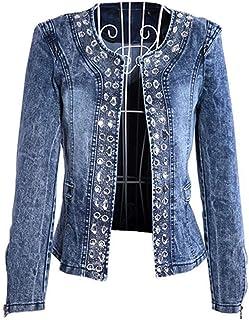 Giacca da Donna in Jeans Jeans Cappotto Giacca Bomber Slim Abito Giacca Collo alla rovescia Giacca Femminile Cappotto da Donna M-5XL