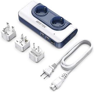 Adaptador Enchufe Universal, BESTEK 200W Transformador Viaje de 110V a 220V con Adaptador UK EU AU, 2 AC Enchufes y 4 Puertos Smart USB Multiprotección, Convertidor Voltaje Universal
