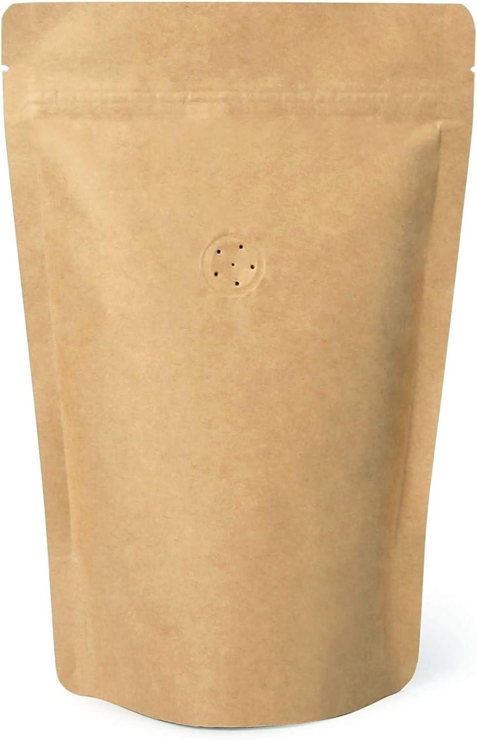 High Barrier Natural Kraft Paper Stand Coffee Pouch 新色 美品 Zipper Ba up