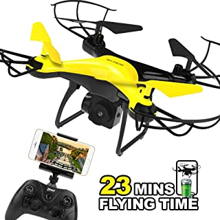 Dwi Dowellin Drone with 720P HD Camera Live Video 23mins Long Flight Time WiFi FPV RC Quadcopter Trajectory Flight One Key Take Off Flips Rolls Drones for Kids Beginner Children Adults