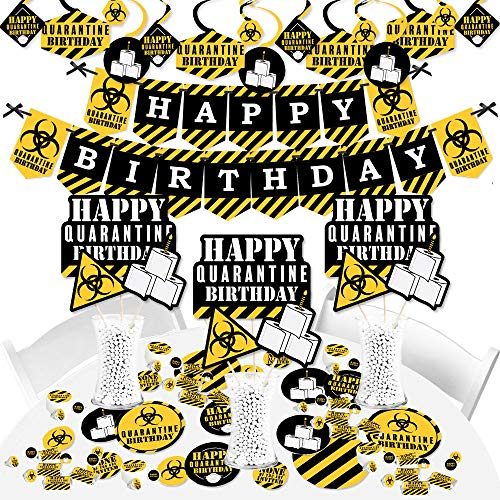 Big Dot of Happiness Happy Quarantine Birthday - Social Distancing Party Supplies - Banner Decoration Kit - Fundle Bundle