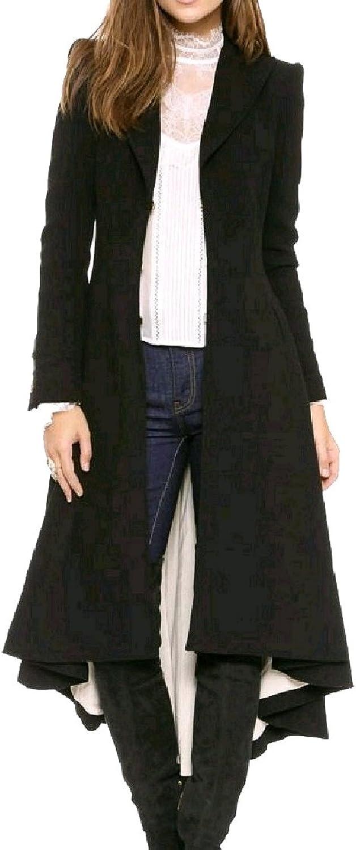 CoolredWomen Vintage Tunic Swallowtail Slim Woolen Peacoat Trench Coat