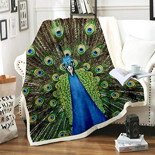 Manta Estampada Pavo Real Animal Verde Azul Terciopelo de Cristal Lateral A, Terciopelo de Lana Blanca Lado B (180 x 200 cm) para Sala de Estar, hogar,