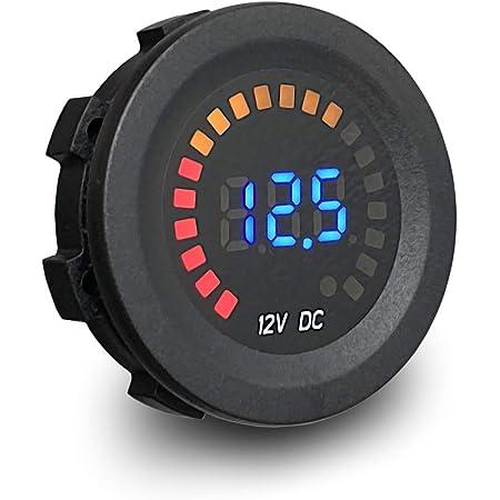 MGI SpeedWare Voltmeter Gauge 12vDC with Blue LED Digital Display (Short Body)