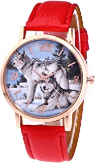 Eduavar Watches On Sale Clearance Round Dial Case Wolf Print Leather Strap Band Watches Womens Crystal Analog Quartz Watch Fashion Wrist Watch Casual Business Bracelet Watches Gift for Women