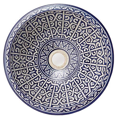 Casa Moro Mediterranes Keramik-Waschbecken Fes86 Ø 35 cm blau weiß rund | Marokkanisches Aufsatzwaschbecken handbemalt Handwaschbecken für Küche Badezimmer Gäste-Bad Einfach schöner Wohnen | WB35286