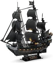 CubicFun 3D Pirate Ship Puzzle Sailboat Vessel Model Kits with Led Lights, Large Black Queen Anne's Revenge,340 Pcs