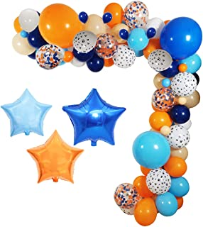 """Bluey birthday party supplies ,120Pack Bluey Theme Party Balloons Garland Decorations, 18"""" 10"""" 5"""" Bulk Balloons Blue Orang..."""