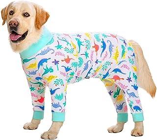 ビッグドッグ服ベーシック服ピュアコットンハイストレッチライトシャツパジャマミディアムラージドッグ4本足服全身 (Color : White dinosaur, Size : 30#(15~22.5KG))