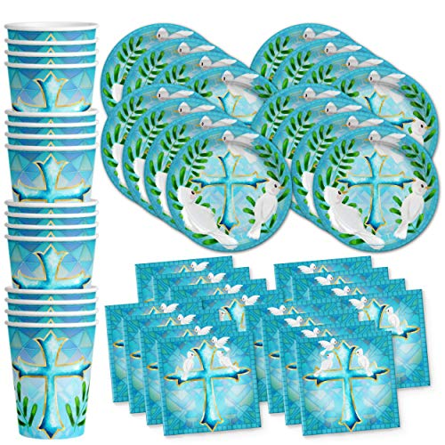 Birthday Galore Baptism Boy Party Supplies Set Plates Napkins Cups Tableware Kit for 16