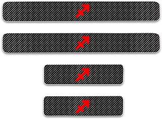 4D Carbon Fiber Car Door Sill Protector Scuff Plate Guard Stickers for Hyundai Azera Tucson Genesis Couple Genesis equus Accent Veloster Loniq Verna i10 i20 ix20 ix35 i30 i40 4Pcs Red