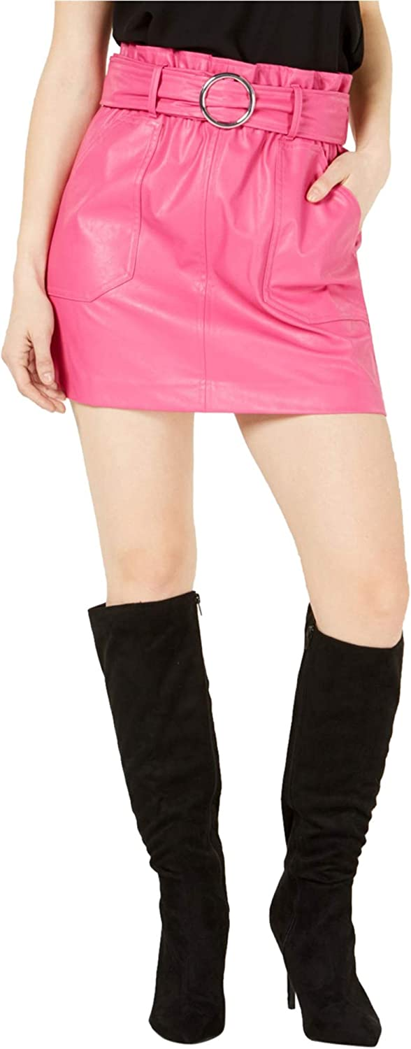 bar III Womens Faux Leather Belted Skirt
