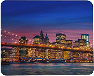 Wozukia Brooklyn Bridge Gaming Mouse Pad East River and Manhattan with Lights and Feflections New York Mouse Pads Rubber L...