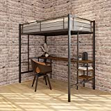 Metal Loft Bed Frame, Twin Loft Bed with Desk & Shelves, Twin Bed Frame with Safety Rails & 2 Ladders for Teens Adults, 12 Solid Metal Slats for Firmly Support, No Box Spring Needed