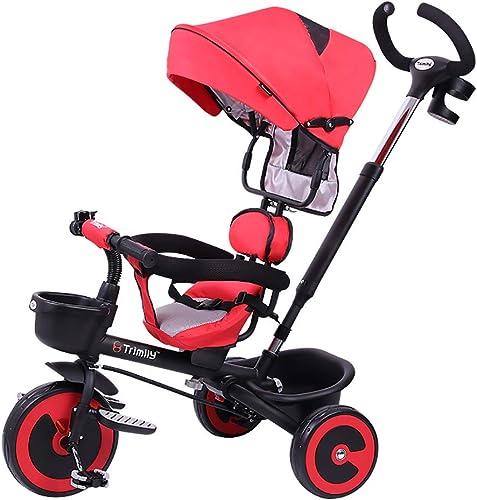 Faltschaltspiel für 1-6 Jahre altes Fahrrad Baby Fahrrad Hand Push Baby Three-Wheeled Rider Pushable Control Direction Seat Can be Adjusted Forward and Backward