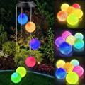 Ninonly Solar Power Crystal Ball Wind Chime,Outdoor LED Mobile Color Changing Solar Wind Spinner Decorative Light for Patio Yard Garden Home Decor