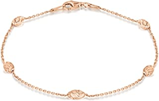 Tuscany 纯银玫瑰金镀金钻石切割球和轨迹链手链 19cm/7.5 英寸