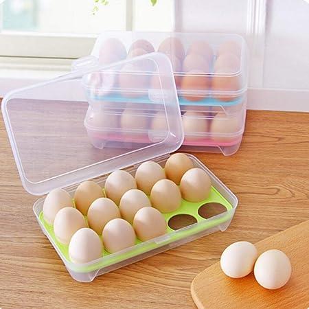 N/D Boîte à œufs en Plastique boîte de Rangement pour œufs de Cuisine 15 Grille Support à œufs empilable congélateur organisateurs de Stockage conteneur de Stockage d'oeufs avec Couvercle (Blanc)
