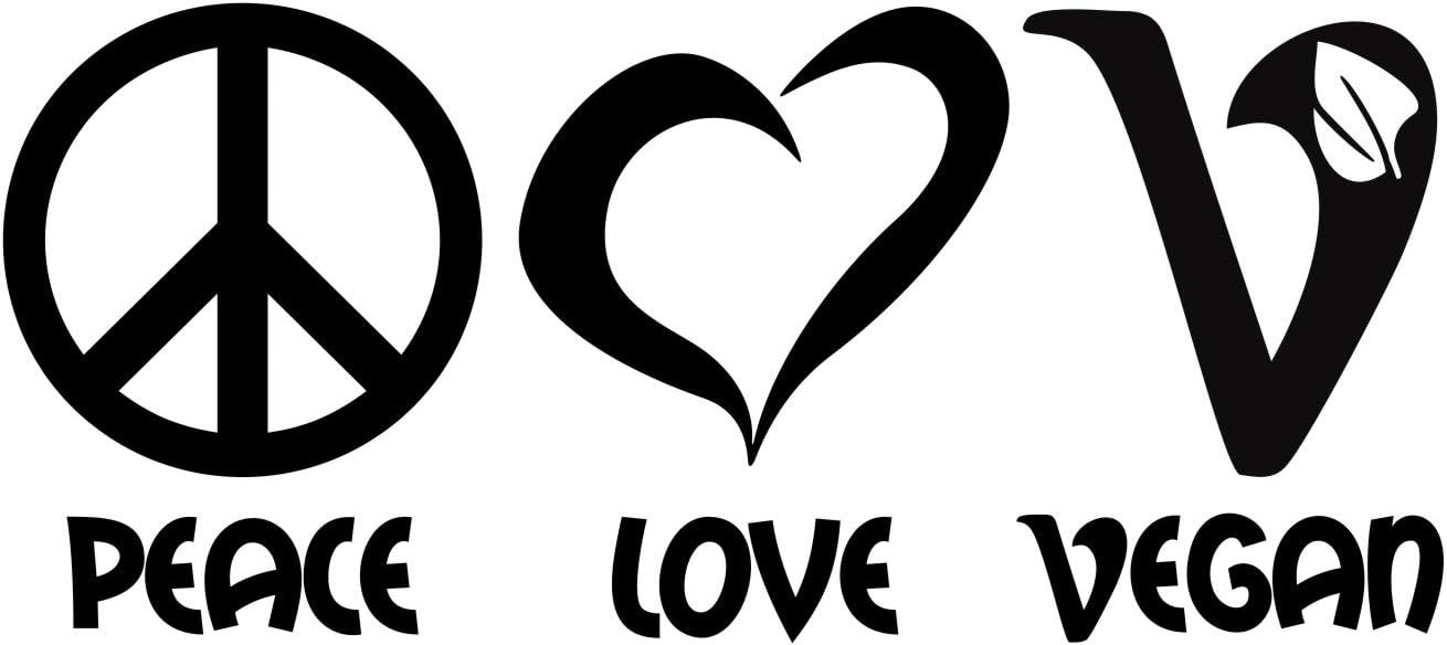 Folistick Peace Love Vegan Aufkleber Veganismus Veganer Laptop Sticker Autoaufkleber Schwarz Auto