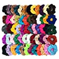 Homerove 60pcs Hair Scrunchies, Velvet Elastic Hair Bands, Scrunchy Colorful Hair Ties Hair Ropes for Women or Girls Hair Accessories ¨C 60 Assorted Colors Scrunchies