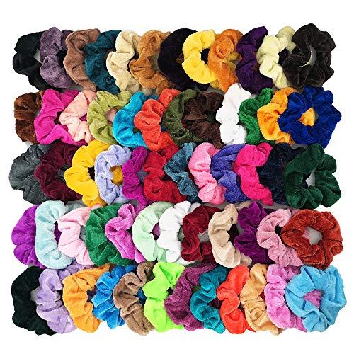 Homerove 60pcs Hair Scrunchies, Velvet Elastic Hair Bands, Scrunchy Colorful Hair Ties Hair Ropes for Women or Girls Hair Accessories ¨C 60 Assorted Colors Scrunchies