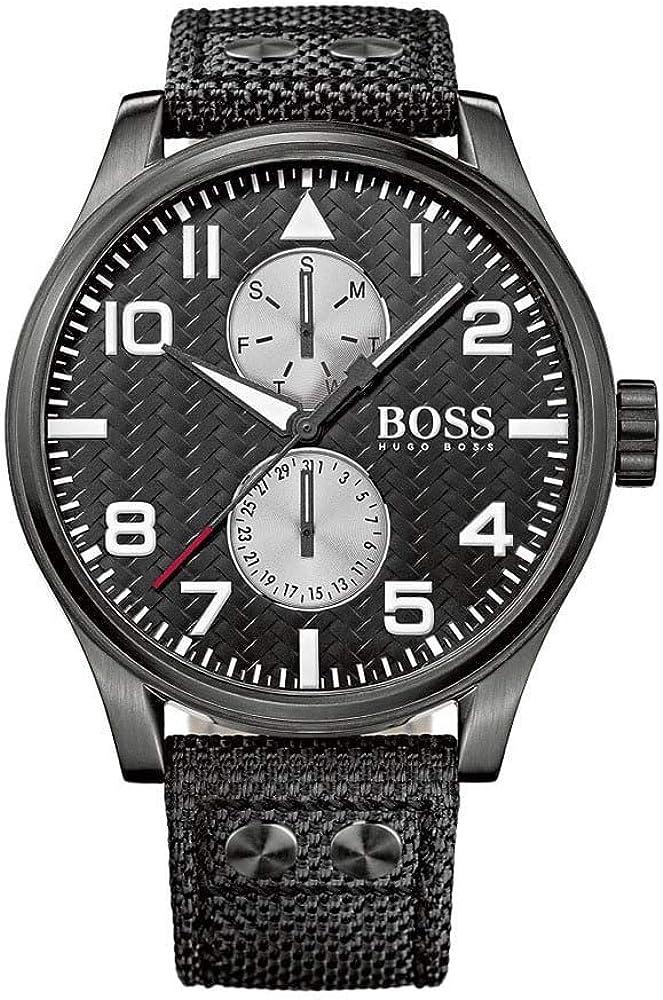 Hugo boss orologio da uomo cassa in acciaio inossidabile e cinturino in pelle 1513086