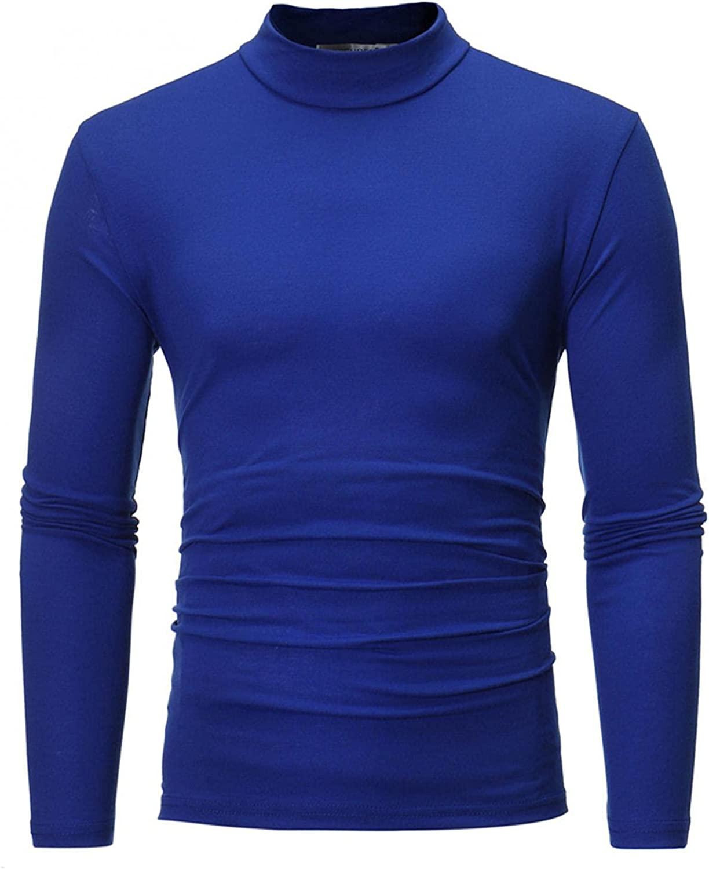FUNEY Men's Casual Slim Fit Basic Tops Lightweight Long Sleeve Thermal Underwear Mock Turtleneck Pullover T Shirts for Men