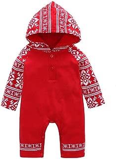 Baby Boys Girls Christmas Snap Long Sleeve Hoodie Snowflake Print Onesie Jumpsuit
