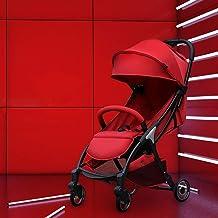 MU Sillas de paseo cómodas Cochecito Plegable ligero Se puede sentar Reclinable A prueba de golpes Portátil Bebé Niño Trolley El viaje puede estar en el avión 0~3 años,ROJO
