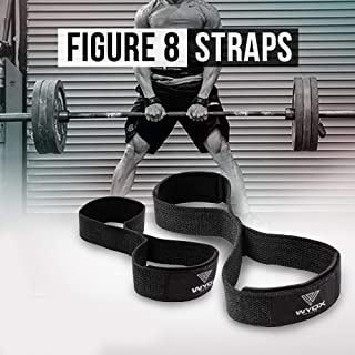 Wyox Figure 8 Weight Lifting Straps with Neoprene Wrist Support Pair (Black)