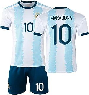 1986 الأرجنتين قميص الرجعية المنزلية/مارادونا 10، كرة القدم جيرسي كيتس القمر موحدة بوليستر قصيرة الأكمام تدريب كرة القدم