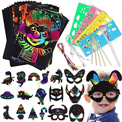 Lehoo Castle Kratzbilder für Kinder, 105 Stück Rainbow Scratch Art Papier Set, Kratzpapier Kinder zum Zeichnen und DIY, Weihnachten Basteln Kinder Kratzbilder Set mit Masken und Kratzbilder Karten