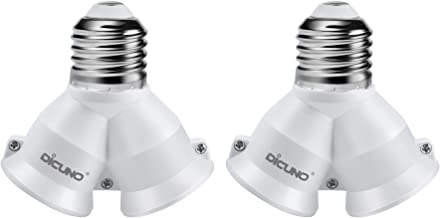 DiCUNO E27 E26 2 in 1 Light Bulb Socket, 2 Way Splitter E27 E26 Adapter Converter, Y Socket Adapter, Max 200W, 2-Pack
