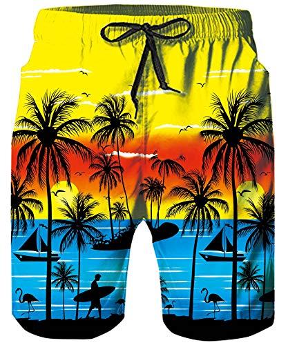 ALISISTER Herren Badehose 3D Lustige Palme Baum Druck Schnell Trockene Badeshorts Herren Sommer Strand Surf Badehosen Mit Taschen M