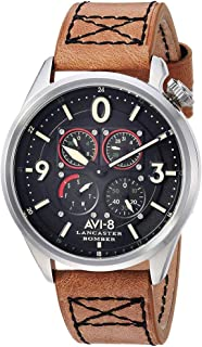 Men's 'Lancaster Bomber' Quartz Stainless Steel and Leather Aviator Watch