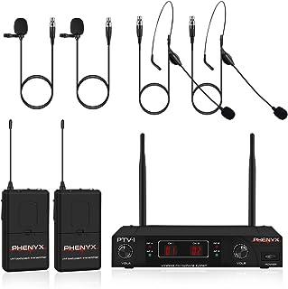 سیستم میکروفون بی سیم ، مجموعه میکروفون بی سیم Phenyx Pro VHF با 2 هدست + 2 لپ تاپ + 2 بدنه ، نصب آسان ، بدون تداخل ، بهترین برای ارائه ، مصاحبه ، کلیسا ، عروسی (PTV-1D)