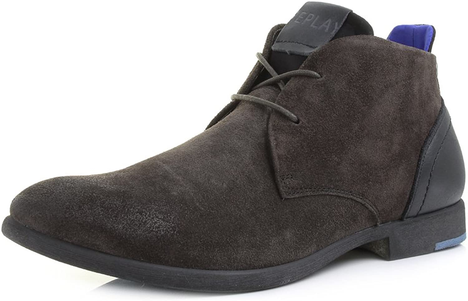 Replay Mens Foxhall Stone Black Lace Up Desert Suede Ankle Boots