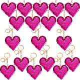 Trounistro 30 Pack Flip Sequin Heart Keychain Valentine's Day Gift Red Heart Keychain for Valentine Day Party Decaration Supplies