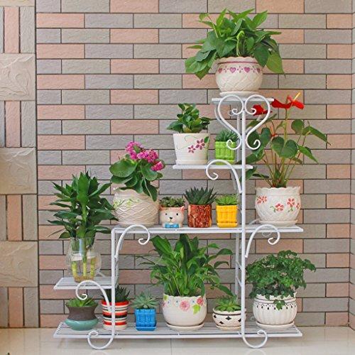 MMM& Serrures à fleurs en fer multicouches Étagère à balcon Salle de séjour Étagère à l'intérieur Plancher à fleurs ( Couleur : Blanc , taille : 88*25*95cm )