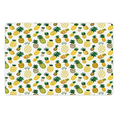 Ambesonne Doodle Pet Mat for Food and Water, Cartoon Style Fruits Simplistic Hand Drawn Tropical Pineapples with Stripes and Dots, Rectangle Non-Slip Rubber Mat for Dogs and Cats, Multicolor