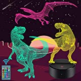 Dinosaur Night Light for Kids - 3D Dinosaur Lamp 16 Colors Optical Illusion Touch & Remote Control with 3 Acrylic Flats Best Christmas Birthday New Year Gifts for Boys Girls Kids Baby (3 Dinosaurs)