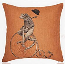 Cotton Linen Square Decorative Throw Pillow Case Personalized Cushion Cover Cute Mr. Frog Riding a Bicycle 18 X18  …
