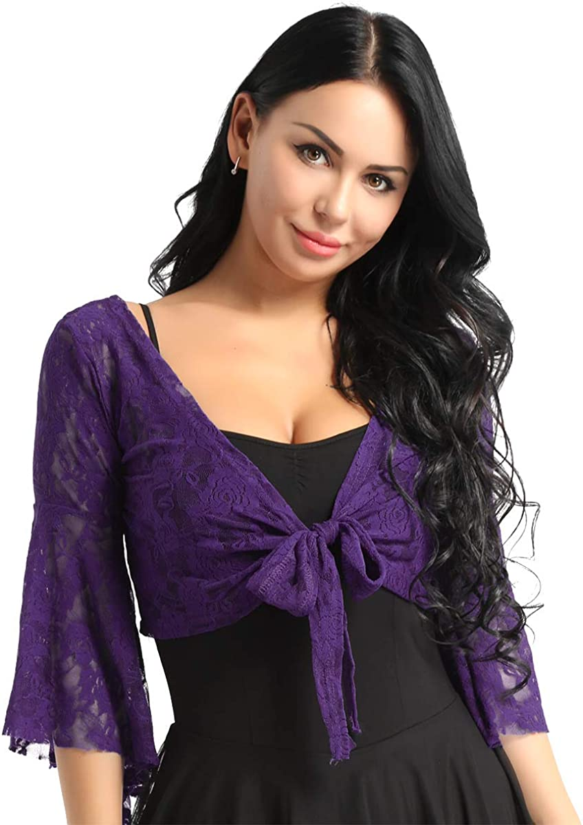 ACSUSS Women's Lace Tops Butterfly Flare Sleeve Belly Dance Blouse Cardigan Shrug